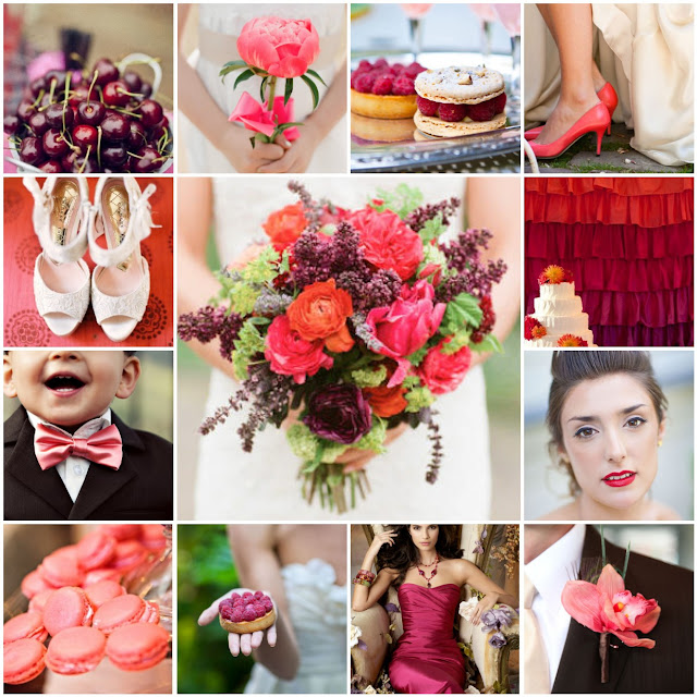 coral and raspberry wedding