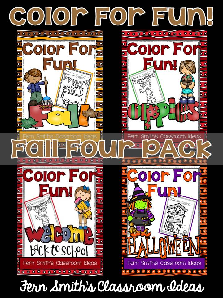 Fern Smith's Classroom Ideas Color For Fun Fall Four Pack of Printable Coloring Pages