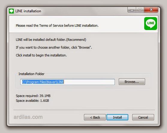 Penentuan lokasi instal - Cara Download & Install Aplikasi Line di Komputer