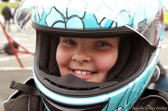 Shona Jenkinson, 9, Hastings, about to hit the track in the Vintage class - Blossom 47, Lightning Race Gear 47th annual Blossom Sprint Race Meeting, at Kartsport Hawke's Bay CHEMZ Raceway at Roy's Hill, Hastings photograph