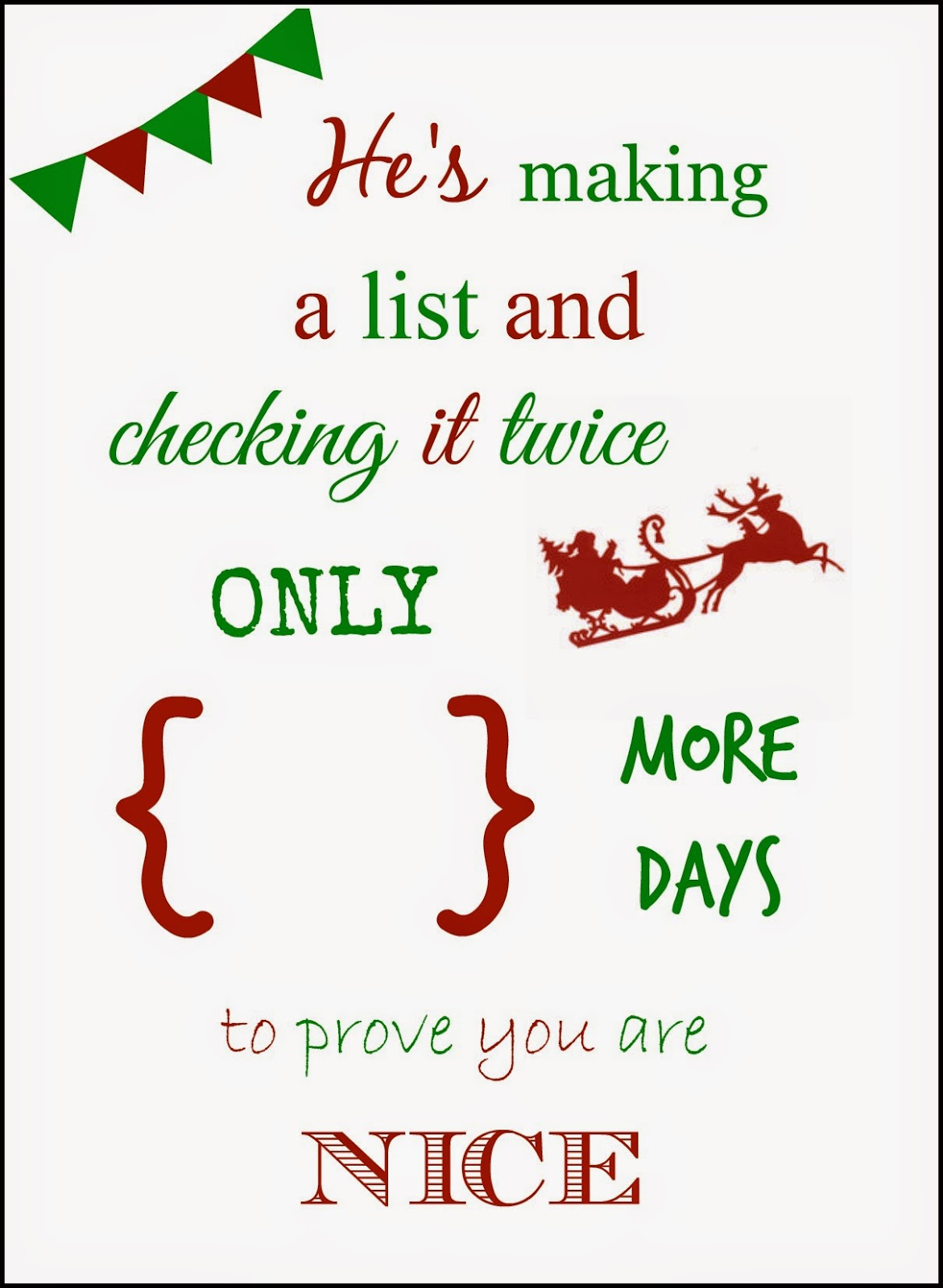 photo relating to Christmas Countdown Printable identified as Cunning within just Crosby: Xmas Countdown Printable 2014