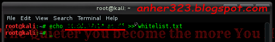 echo mac address >> whitelist.txt