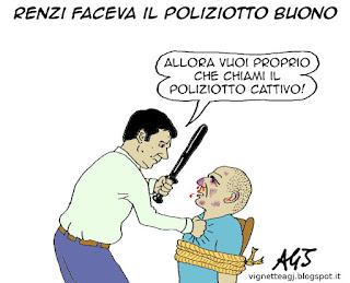 Renzi, Varoufakis, satira vignetta