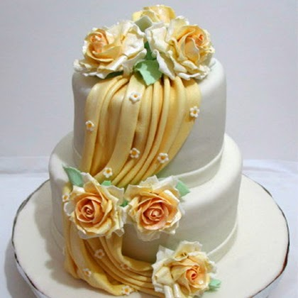 How to make gumpaste Drapes and A Wedding Cake