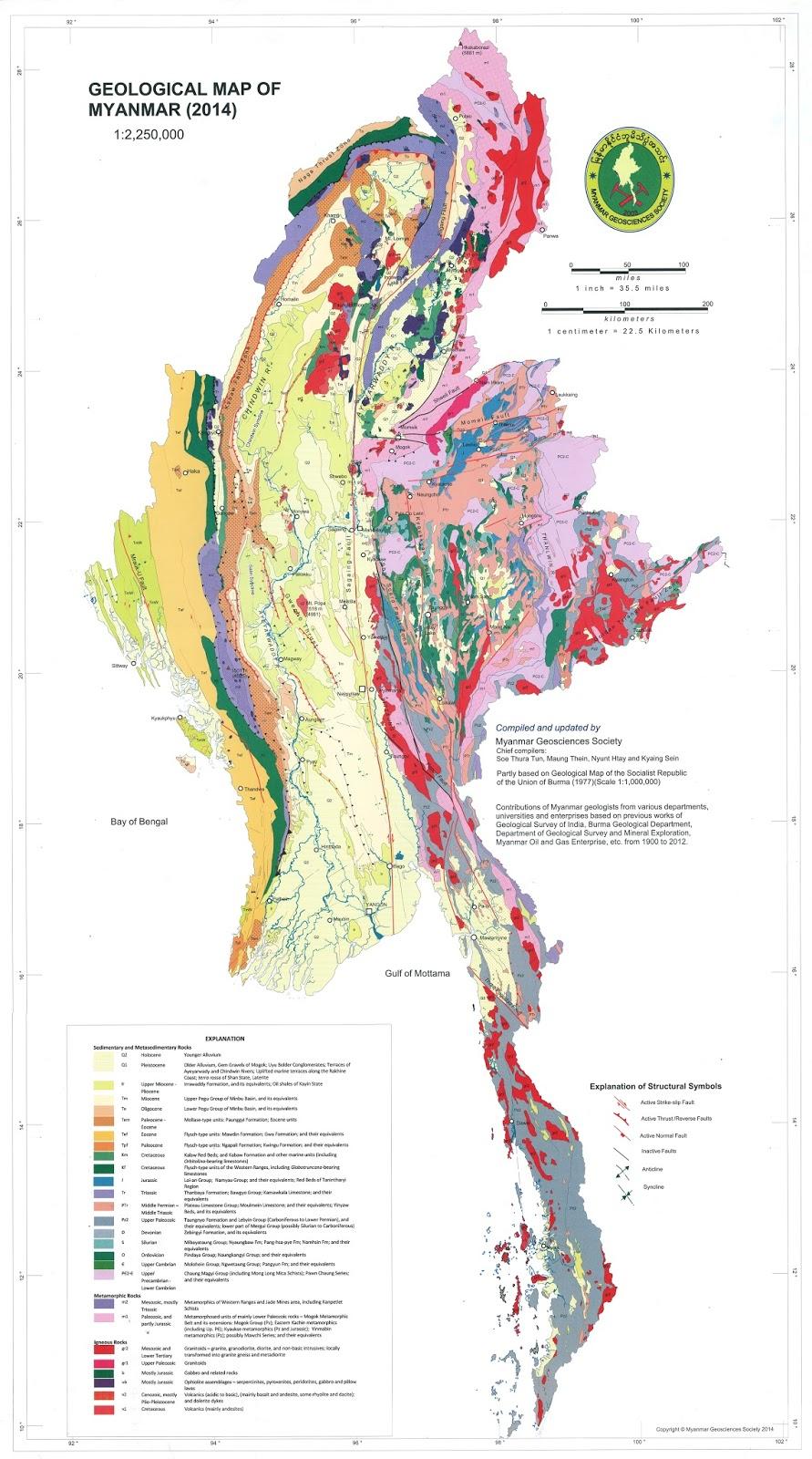 Geological Map Of Burma - Map of burma
