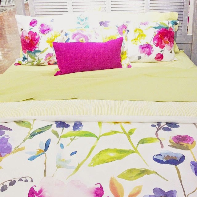 Hand painted vibrant coloured floral bedding from the Hudsons Bay, Canada