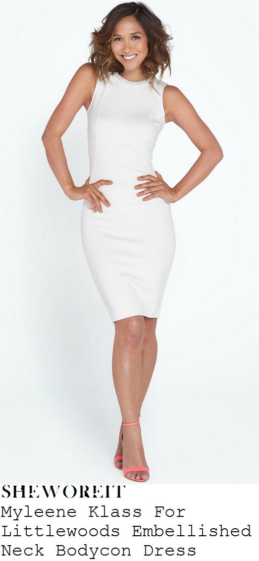 myleene-klass-white-embellished-neck-sleeveless-bodycon-dress