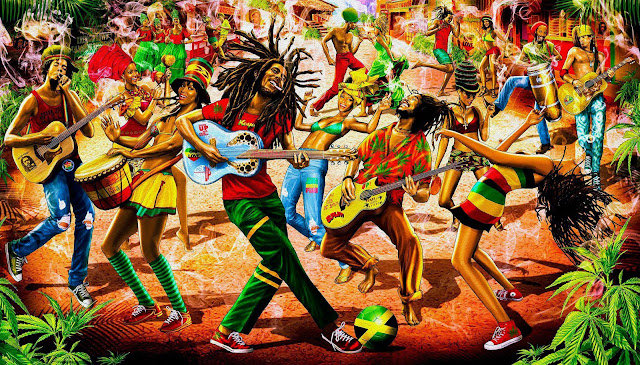 MusicLoad.Com celebrates Bob Marley's 70th.  Painting by Rob de Bank (robdebank.com)