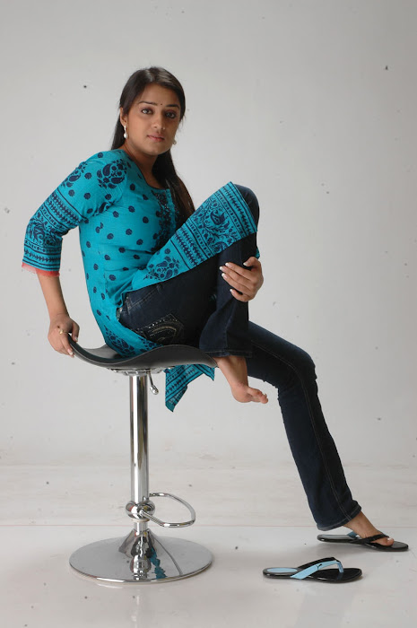 Nikitha in Blue kurti and Dark Blue Jeans for Women