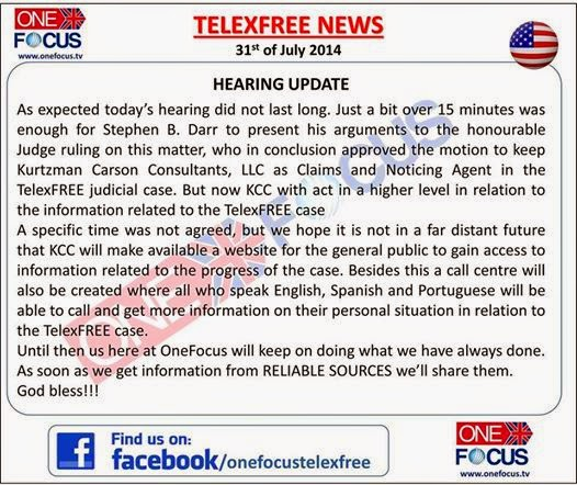 Telexfree News about the 31st of July Hearing...
