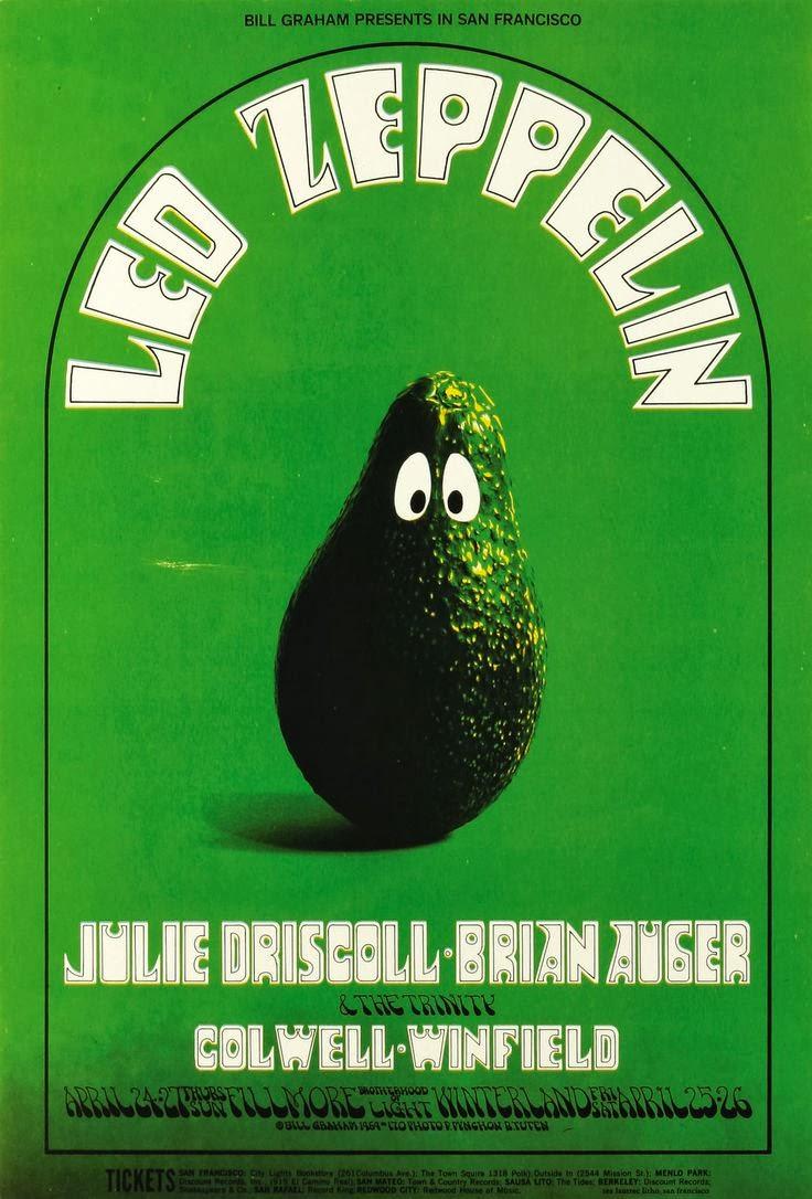 Poster original de divulgação do show do Led Zeppelin realizado em 24/4/1969 no Fillmore West