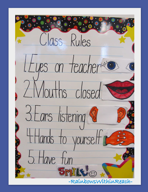 photo of: Class Rules Poster with Hand Drawn Visual Reminder Prompts