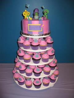 Barney Birthday Cupcakes