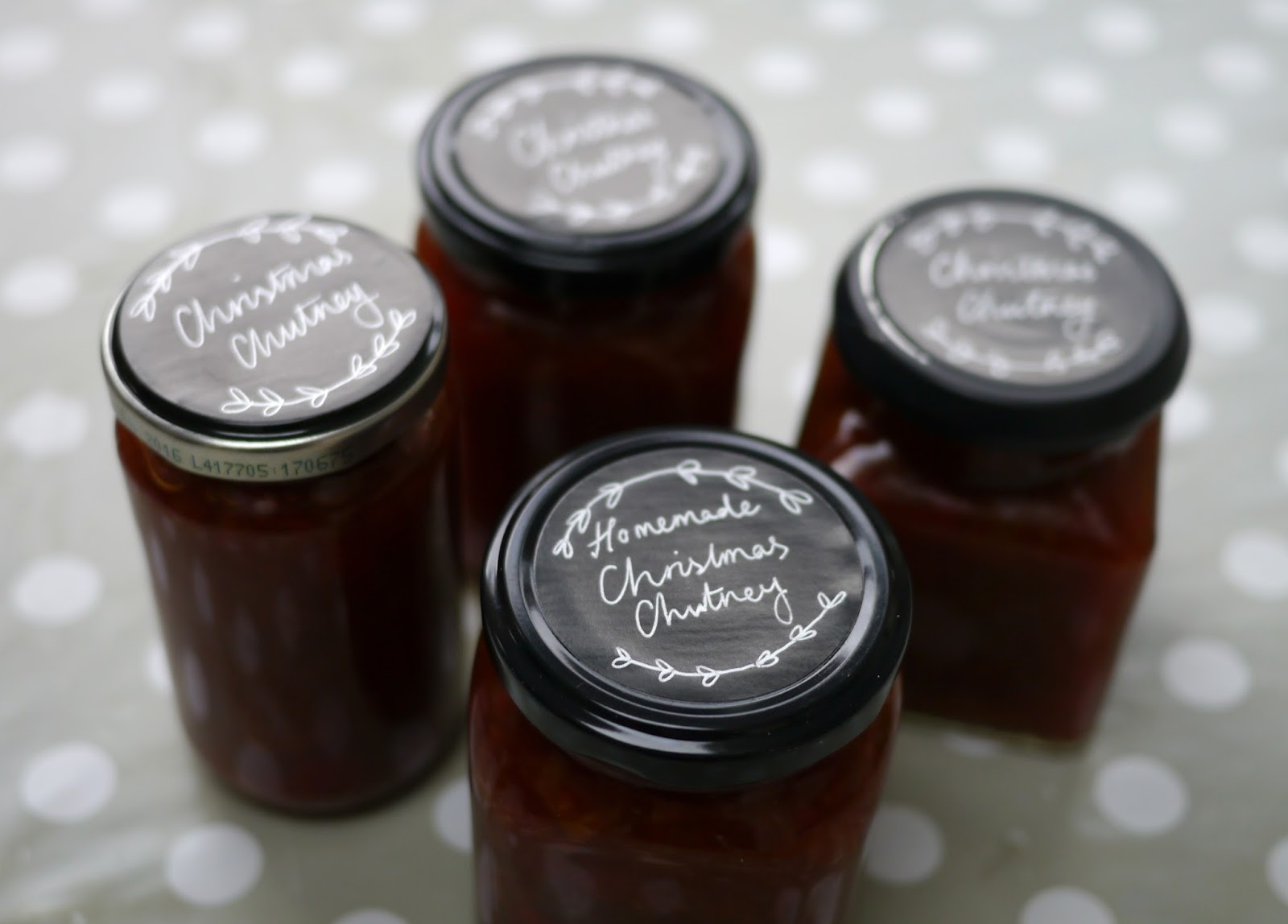 Packaging for Homemade Christmas Chutney Jar Lid  Stickers