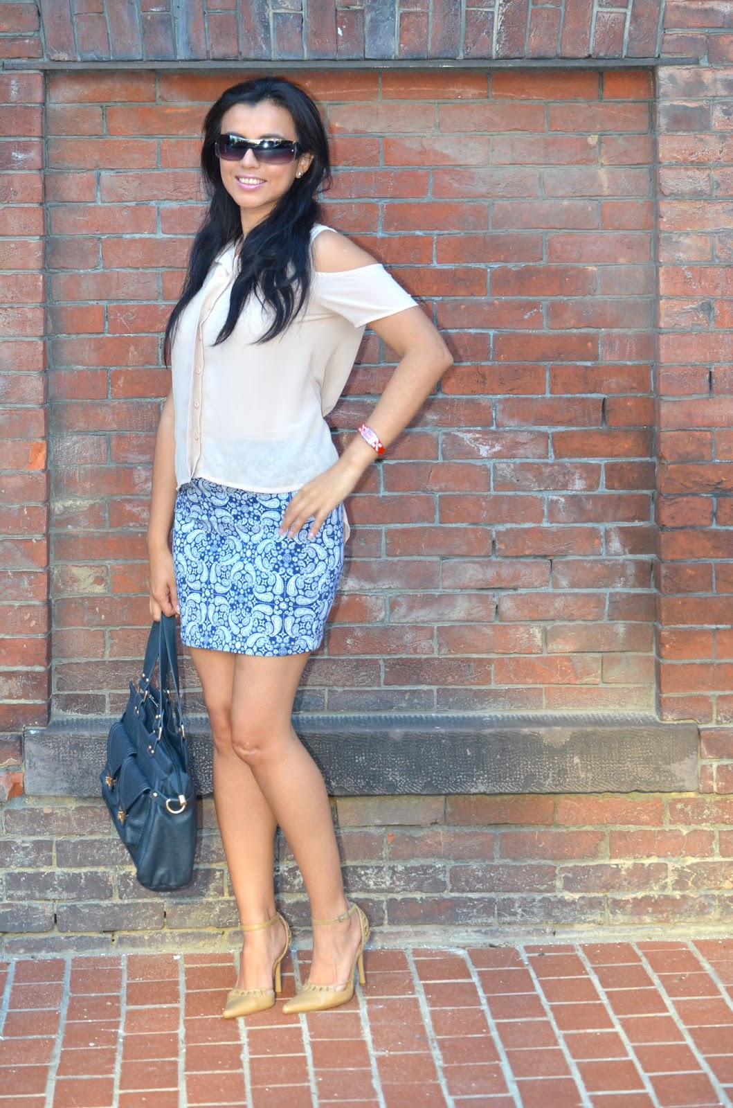 Blue Patterned Jersey Skirt