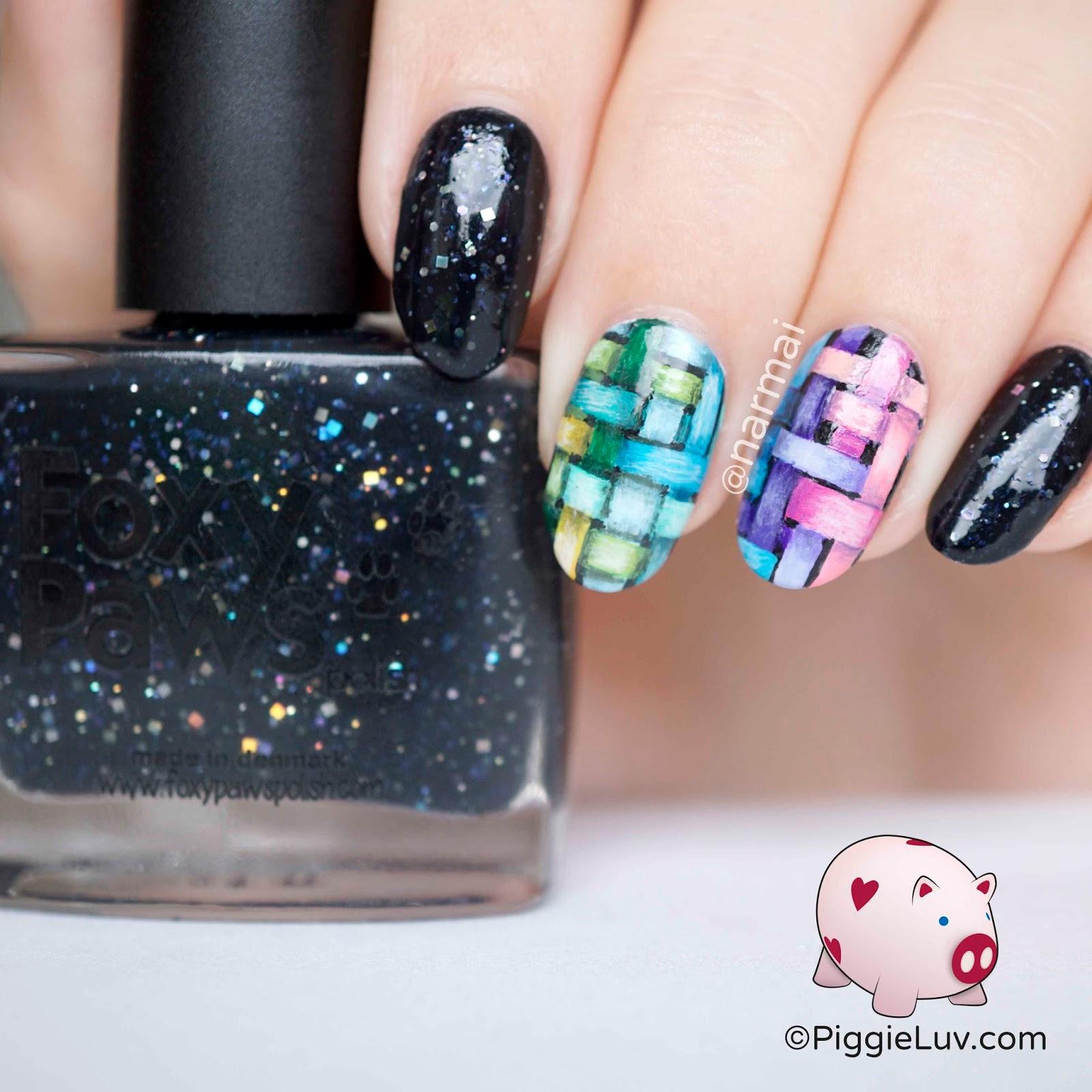 Piggieluv Rainbow Bubbles Nail Art: PiggieLuv: Freehand Woven Rainbow Pattern Nail Art