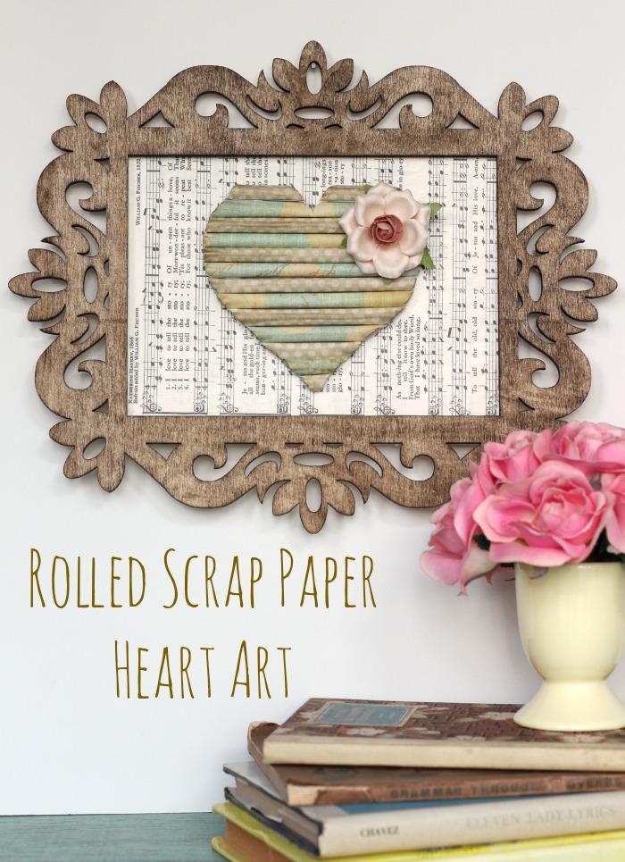 Rolled Scrap Paper Heart Art--Create this cute art from paper scraps! pitterandglink.com