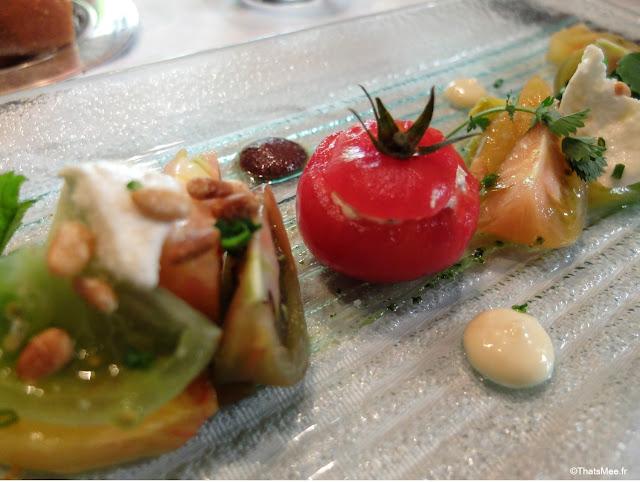 tomates entrée resto Hotel du Tribunal, Mortagne-au-Perche week-end parisien campagne