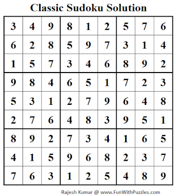 Classic Sudoku (Fun With Sudoku #42) Solution