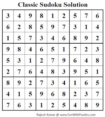 Classic Sudoku (Fun With Sudoku #42) Solution