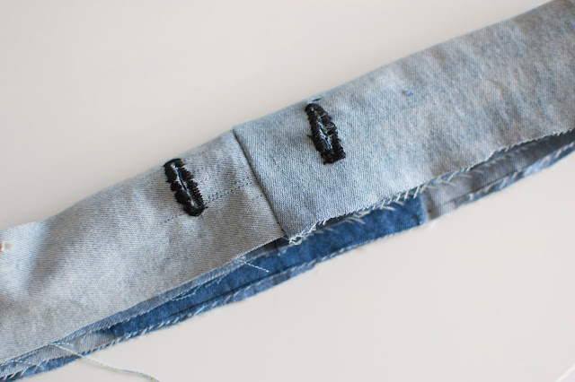 Buttonholes sewn into band