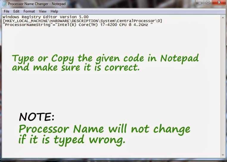 Change Processor Name of Windows PC Manually using Notepad