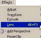 sử dụng lệnh Lens trong Coreldraw