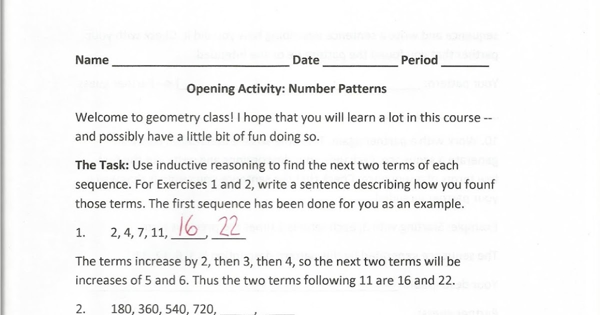 Geometry Common Core Style Activity Number Patterns Day 3 – Inductive Reasoning Worksheet