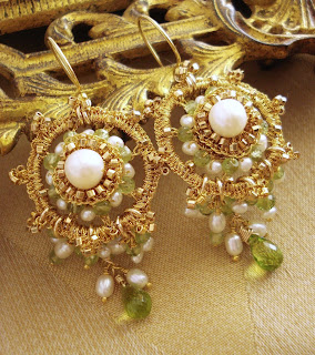 Gold and Peridot Bridal Chandelier Earrings