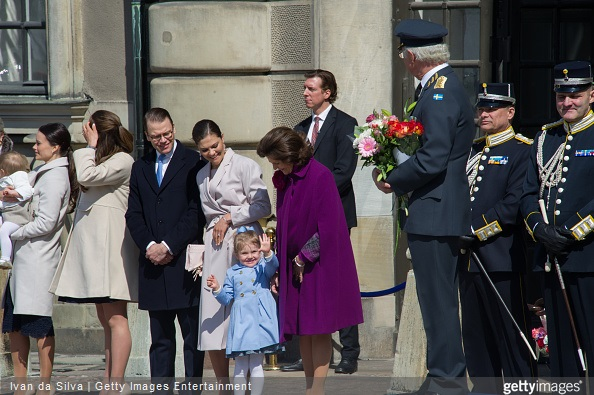 Ms Sofia Hellqvist, Princess Madeleine, Princess Leonore, Prince Daniel, Crown Princess Victoria, Princess Estelle, Queen Silvia, King Carl Gustaf XVI are seen during the celebration of the King's birthday at Palace Royale on April 30, 2015 in Stockholm, Sweden.
