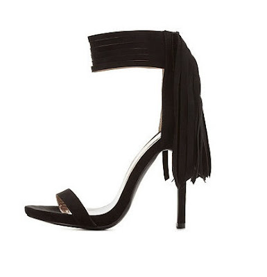Charlotte Russe high heeled barely there ankle strap sandals with fringe