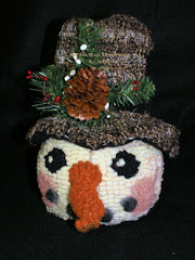 Rug Hooked Snowman Candy Holder (pdf)