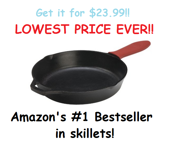 Get the Very Popular Lodge Pre-Seasoned Cast Iron Skillet for $23.99!  (Amazon's #1 Best Seller!)