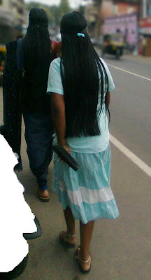 long hair mallu girl at road.