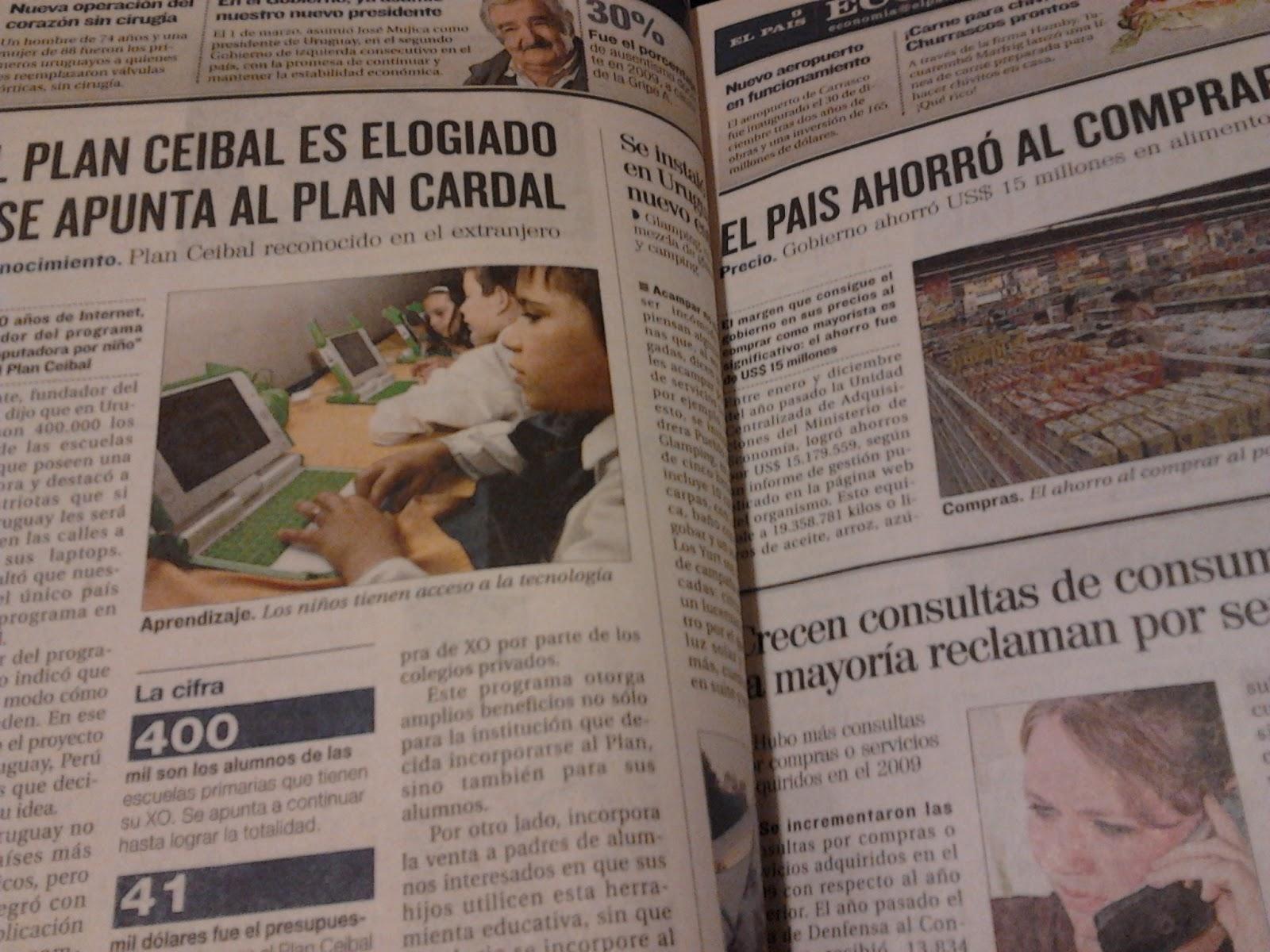 Escuela 341 montevideo uruguay leyendo el peri dico for Noticias actuales del espectaculo