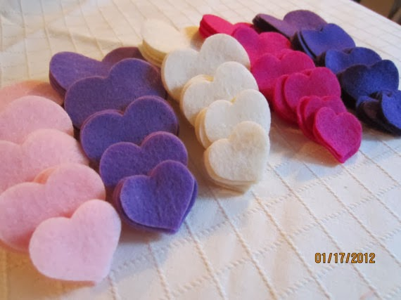 pink and purple felt hearts by Pear Creek Cottage