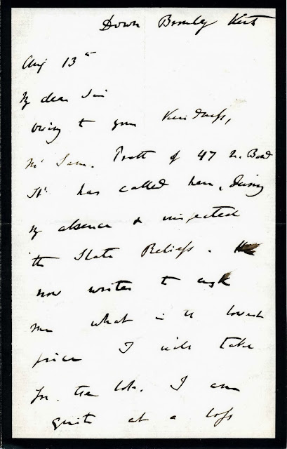Letter from Charles Darwin to Trenham Reeks (Page 1 of 3)