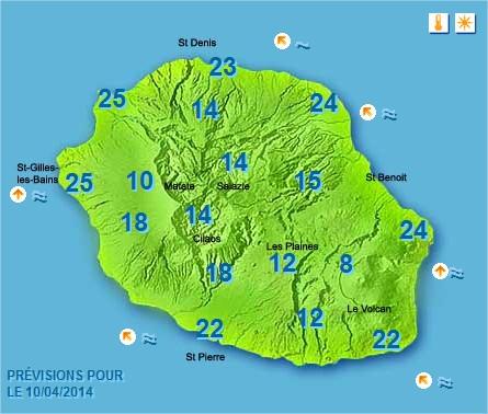 Prévisions météo Réunion pour le Jeudi 10/04/14