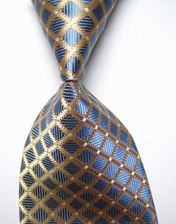Classic Checks Blue Gold JACQUARD WOVEN 100% Silk Men's Tie Necktie
