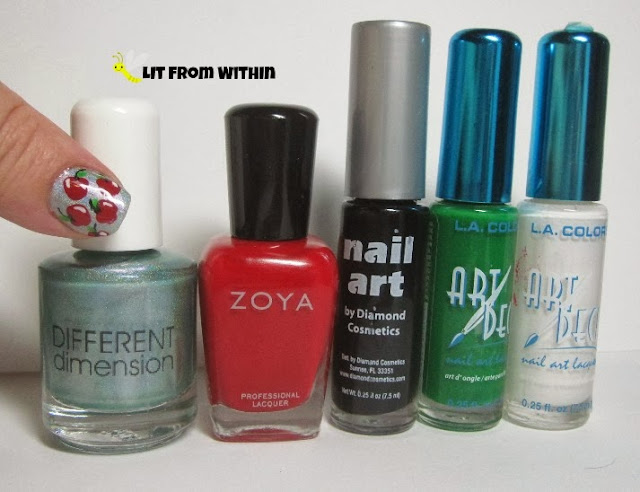 bottle shot:  Different Dimension Ocean's Daughter, Zoya Sooki, and nail art stripers in black, green, and white