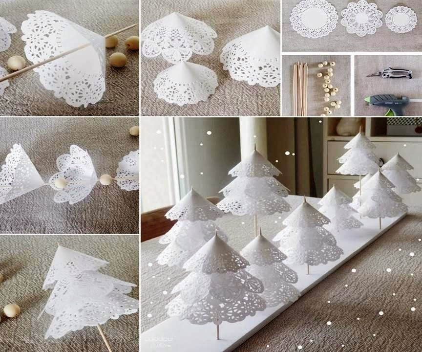 Enchanted Paper Doily Christmas Trees Idea