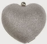 Nina Fotina heart clutch, heart shaped clutch, silver glitter handbag, silver glitter purse, affordable silver clutch, Nina clutch handbags, shiny accessories