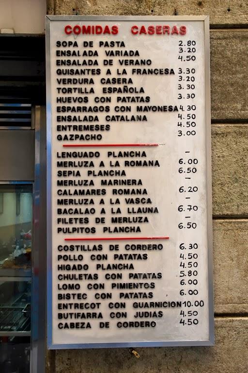Carta del restaurante más barato de Barcelona: El Romesco