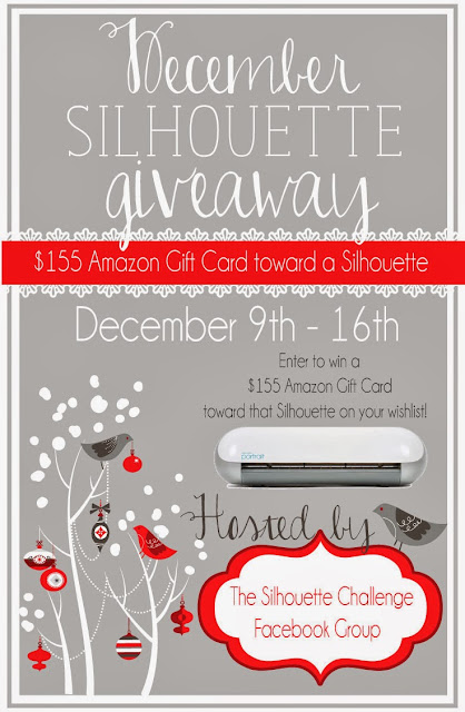 December Silhouette #Giveaway hosted by the Silhouette Challenge Facebook Group .  Enter to win a $155 Amazon gift card toward a Silhouette.  Giveaway runs from December 9, 2013 to December 16, 2013.  Enter at http://www.Pitterandglink.blogspot.com!