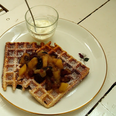 buckwheat waffles with apple, pear and vine fruit compote