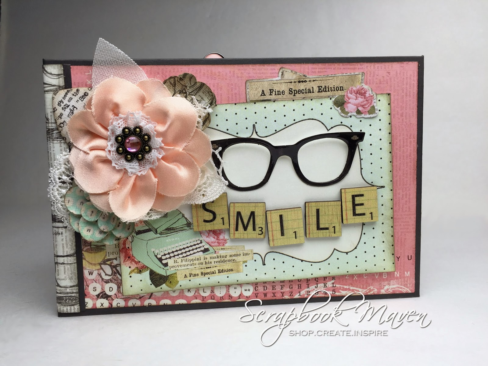 Mini Album using Prima Coffee Break Kit available at ScrapbookMaven.com