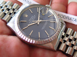 ROLEX OYSTER PERPETUAL DATE JUST BLUEISH DIAL - ROLEX 16030 BLUEISH DIAL - JUBILE BRACELET