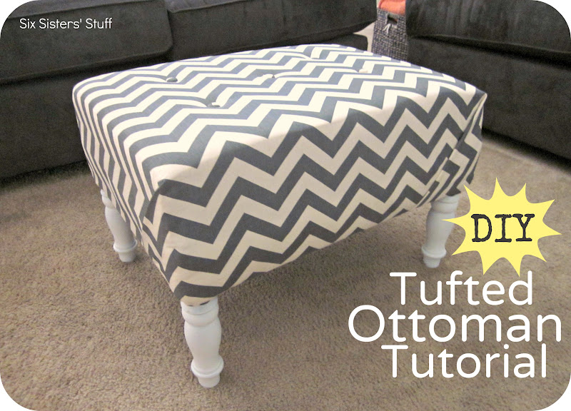 DIY Tufted Ottoman Fabric Recover Tutorial Six Sisters 39 Stuff