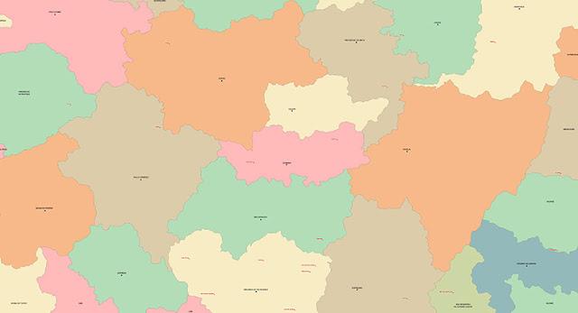 Miniatura do mapa político de Coimbra - MG e cidades vizinhas. Baixe o mapa em alta resolução no link abaixo.