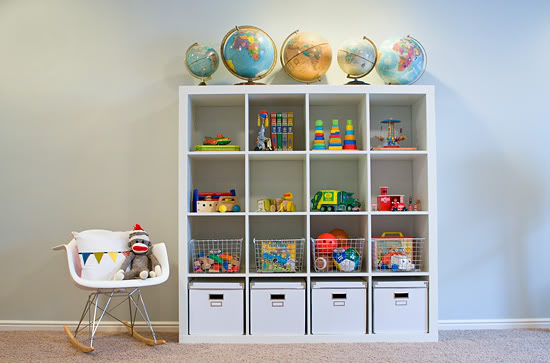 organizing the playroom with expedit shelving driven by